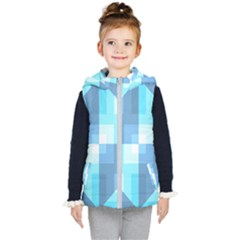 Fabric Cotton Aqua Blue Patchwork Kids  Hooded Puffer Vest