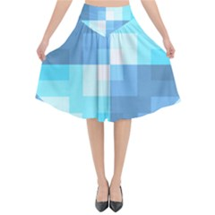 Fabric Cotton Aqua Blue Patchwork Flared Midi Skirt by AnjaniArt