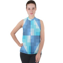 Fabric Cotton Aqua Blue Patchwork Mock Neck Chiffon Sleeveless Top