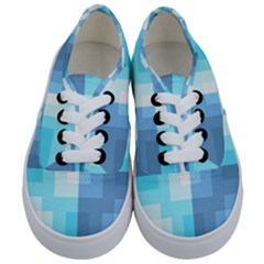Fabric Cotton Aqua Blue Patchwork Kids  Classic Low Top Sneakers
