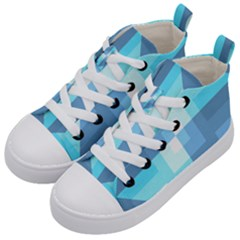 Fabric Cotton Aqua Blue Patchwork Kids  Mid Top Canvas Sneakers by AnjaniArt