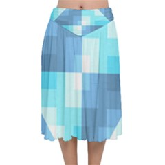 Fabric Cotton Aqua Blue Patchwork Velvet Flared Midi Skirt by AnjaniArt