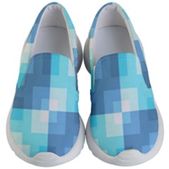 Fabric Cotton Aqua Blue Patchwork Kids  Lightweight Slip Ons by AnjaniArt