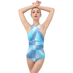 Fabric Cotton Aqua Blue Patchwork Cross Front Low Back Swimsuit by AnjaniArt