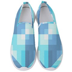 Fabric Cotton Aqua Blue Patchwork Men s Slip On Sneakers by AnjaniArt