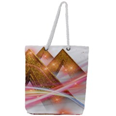 Golden Triangle Full Print Rope Handle Tote (large)