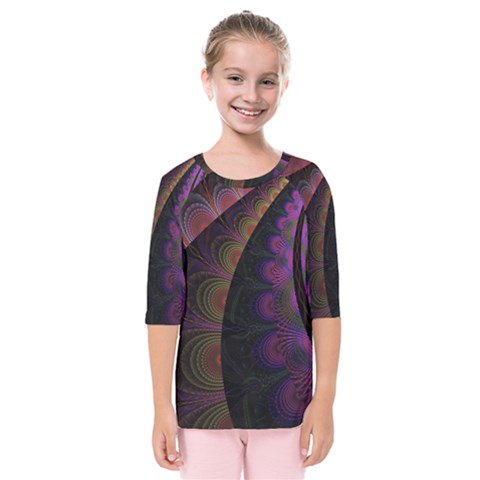 Fractal Colorful Pattern Spiral Kids  Quarter Sleeve Raglan Tee by AnjaniArt