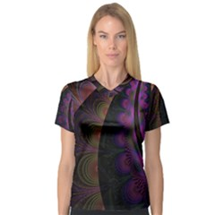 Fractal Colorful Pattern Spiral V Neck Sport Mesh Tee