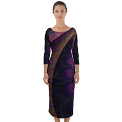 Fractal Colorful Pattern Spiral Quarter Sleeve Midi Bodycon Dress by AnjaniArt
