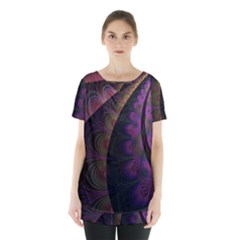 Fractal Colorful Pattern Spiral Skirt Hem Sports Top by AnjaniArt