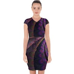 Fractal Colorful Pattern Spiral Capsleeve Drawstring Dress