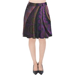 Fractal Colorful Pattern Spiral Velvet High Waist Skirt