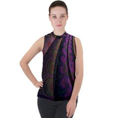 Fractal Colorful Pattern Spiral Mock Neck Chiffon Sleeveless Top by AnjaniArt