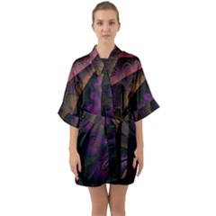 Fractal Colorful Pattern Spiral Quarter Sleeve Kimono Robe by AnjaniArt