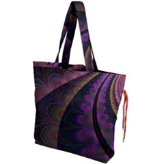 Fractal Colorful Pattern Spiral Drawstring Tote Bag