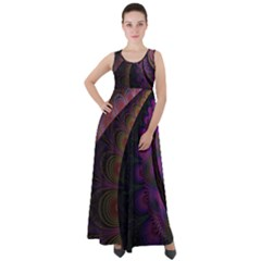 Fractal Colorful Pattern Spiral Empire Waist Velour Maxi Dress by AnjaniArt