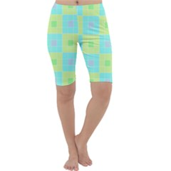 Grid Geometric Pattern Colorful Cropped Leggings  by AnjaniArt