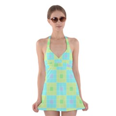 Grid Geometric Pattern Colorful Halter Dress Swimsuit  by AnjaniArt