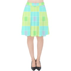 Grid Geometric Pattern Colorful Velvet High Waist Skirt
