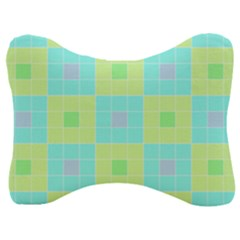 Grid Geometric Pattern Colorful Velour Seat Head Rest Cushion