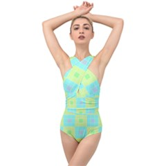 Grid Geometric Pattern Colorful Cross Front Low Back Swimsuit