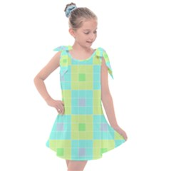 Grid Geometric Pattern Colorful Kids  Tie Up Tunic Dress by AnjaniArt