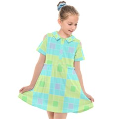 Grid Geometric Pattern Colorful Kids  Short Sleeve Shirt Dress