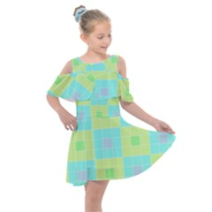 Grid Geometric Pattern Colorful Kids  Shoulder Cutout Chiffon Dress by AnjaniArt