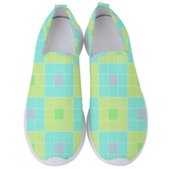 Grid Geometric Pattern Colorful Men s Slip On Sneakers by AnjaniArt