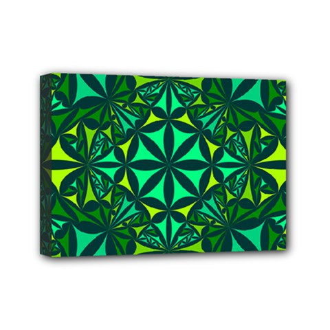 Green Triangle Pattern Kaleidoscope Mini Canvas 7  X 5  (stretched)