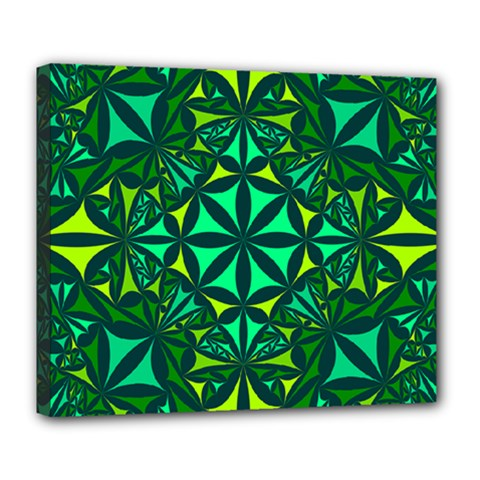 Green Triangle Pattern Kaleidoscope Deluxe Canvas 24  X 20  (stretched) by AnjaniArt