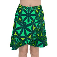 Green Triangle Pattern Kaleidoscope Chiffon Wrap Front Skirt