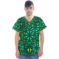 Green Triangle Pattern Kaleidoscope Men s V Neck Scrub Top
