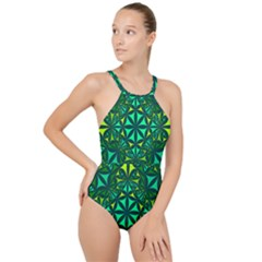 Green Triangle Pattern Kaleidoscope High Neck One Piece Swimsuit