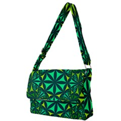 Green Triangle Pattern Kaleidoscope Full Print Messenger Bag by AnjaniArt