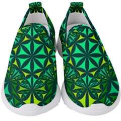 Green Triangle Pattern Kaleidoscope Kids  Slip On Sneakers by AnjaniArt