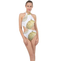Hanging Christmas Balls Halter Side Cut Swimsuit
