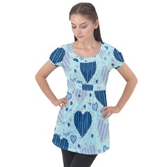 Hearts Pattern Puff Sleeve Tunic Top by AnjaniArt
