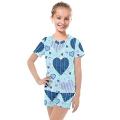 Hearts Pattern Kids  Mesh Tee And Shorts Set