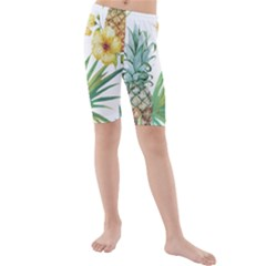 Hawaii Pineapple Wallpaper Tropical Plants Kids  Mid Length Swim Shorts