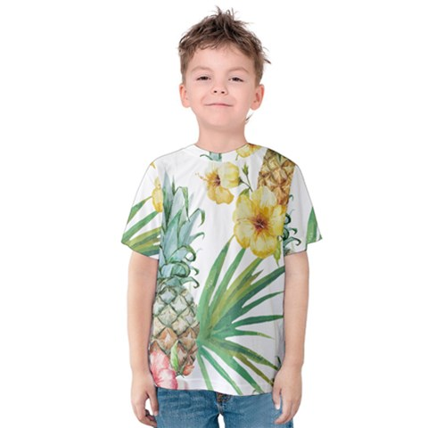 Hawaii Pineapple Wallpaper Tropical Plants Kids  Cotton Tee by AnjaniArt