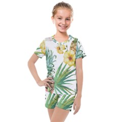 Hawaii Pineapple Wallpaper Tropical Plants Kids  Mesh Tee And Shorts Set