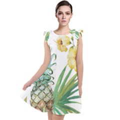 Hawaii Pineapple Wallpaper Tropical Plants Tie Up Tunic Dress