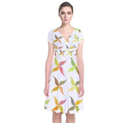 Leaf Autumn Background Short Sleeve Front Wrap Dress