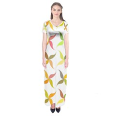 Leaf Autumn Background Short Sleeve Maxi Dress by AnjaniArt