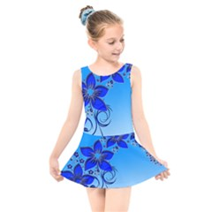 Kringel Lines Creative Vine Stems Kids  Skater Dress Swimsuit by AnjaniArt