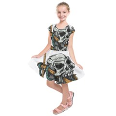 Horror Skeleton Material Kids  Short Sleeve Dress