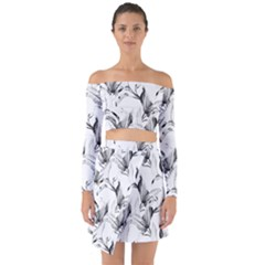 Leaves Tropical Off Shoulder Top With Skirt Set