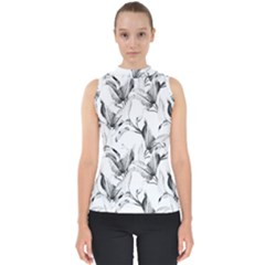 Leaves Tropical Mock Neck Shell Top by AnjaniArt