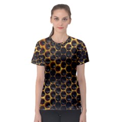 Hexagon Honeycomb Grid Pattern Women s Sport Mesh Tee by AnjaniArt